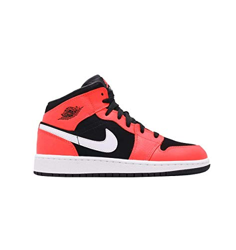 - Jordan Boy's Air Jordan 1 Mid (GS) Basketball Shoe, Black/Infrared 23/White, 6 M US Big Kid