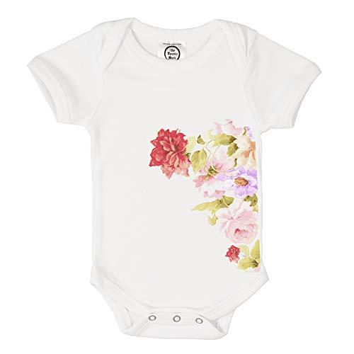 The Spunky Stork Vintage Bouquet Organic Cotton Baby Bodysuit (0-3M) White