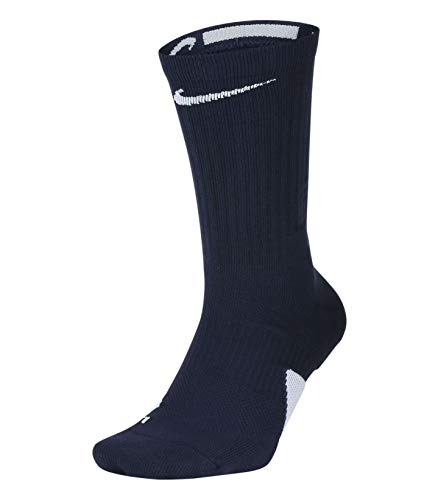 (Nike Elite Crew Basketball Socks (Large, Midnight Navy/White/White))