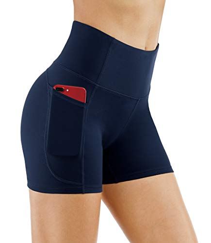 THE GYM PEOPLE High Waist Yoga Shorts for WomenTummy Control Fitness Athletic Workout Running Shorts with Deep Pockets (Medium, Blue) ()