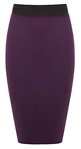 tinta Ufficio 50 50 Purple Donna unita Size Gonna Fuseau Apparel Stretch 36 Long Bodycon Large Mi Amber qStHzx