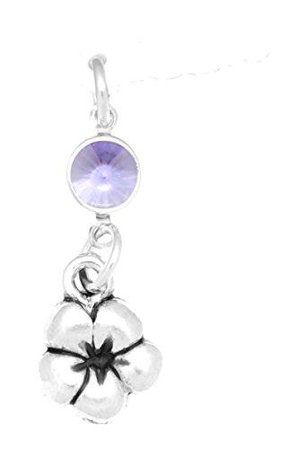 Plumeria Flower Cell Phone Charm - Clayvision Plumeria Flower Phone Charm with Tanzanite Colored Crystal June White Plug