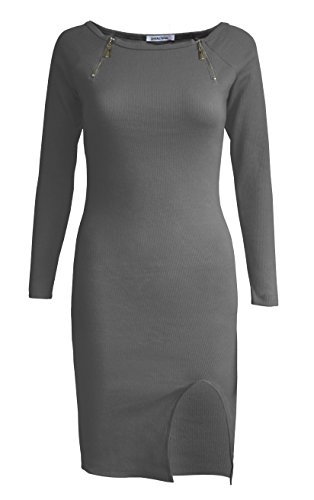 Goddess Area Women's Classic Slim Fit Long Sleeve Bodycon Midi Pencil Sweater Dress (A3, Grey3) review.