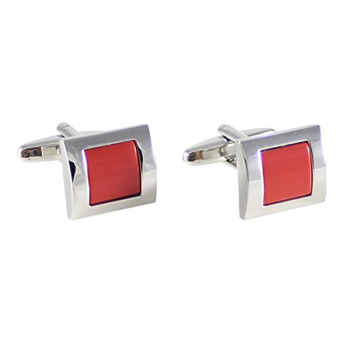 (MENDEPOT Rectangle Stone Cufflinks in Box, Rhodium Plated Stone Cufflinks with Box (Coral))