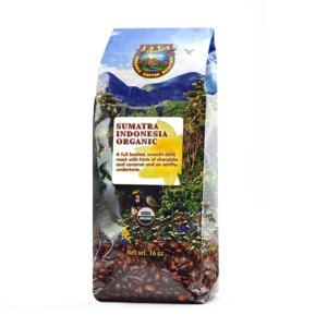 Java Planet - Sumatra Indonesian USDA Organic Coffee Beans, Dark Roasted, Fair Trade, Arabica Gourmet Specialty Grade A - 1lb bag by Java Planet
