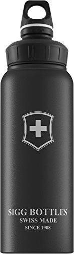 Swiss Emblem - Sigg Wide Mouth Swiss Emblem Water Bottle (Black Touch, 1.0-Litre)