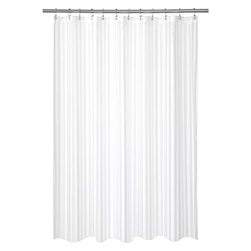 (Barossa Design Waterproof Fabric Shower Curtain or Liner Standard Size, Machine Washable, Weighted Bottom, Hotel Style with White Damask Striped, 72x72 inches)