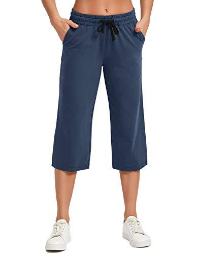 SPECIALMAGIC Women's Yoga Capris Lounge Pants Indoor Sweatpants Straight Wide Leg Crop Jersey Pants with Inner Pockets