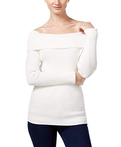 MICHAEL Michael Kors Ribbed Off-The-Shoulder Sweater (Ecru, XL) - Michael Kors Ribbed
