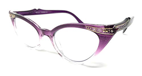 WebDeals - Cateye or High Pointed Eyeglasses or Sunglasses Vintage Inspired Fashion (Purple Fade Frame Clear)...