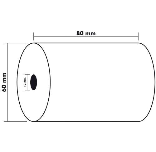 Exacompta–Lote de 5bobinas para caja registradora papel térmico 55G, color blanco 80x 60x 12mm 45m, 1pli