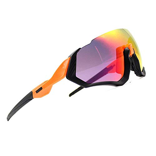2018 New Cycling Sunglasses kit 3LS Revo + Polarized + Transparent (Black&Orange)