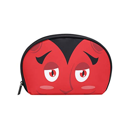 Senya Travel Cosmetic Bag Small Makeup Portable Carry Case Pouch Girls Women Personalized Organizer Tote Bag For Jewelry Toiletries Cartoon Kind Devil Face Halloween ()