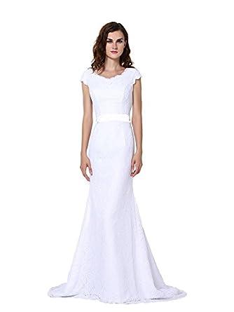 Vegeron Cap Sleeve Mermaid Lace Wedding Dresses Bridal