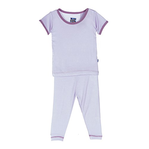 KicKee Pants Solid Short Sleeve Pajama Set Little Girls, Thistle with Pegasus Trim, Girls 7