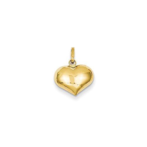 14K Yellow Gold Polished Puffed Heart Charm Pendant