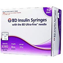 BD Ultrafine U-100 Insulin Syringe 31 Gauge 3/10cc 5/16 inch Short Needle-1/2 Unit Markings 100/box (328440)