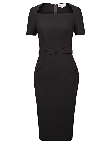 Women's 1950s Retro Vintage Square Neck Pencil Dress with Pockets Size S Black BP410-1 from Belle Poque