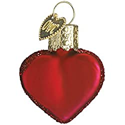 Old World Christmas Small Red Heart Glass Blown Ornament