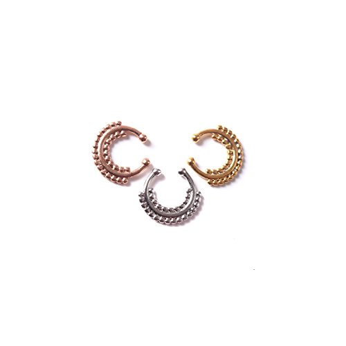 Fake Faux Septum Beaded Ball Nose Piercing Clip Ring Jewelry Silver/Gold/RoseGold Stainless steel - Fake Bull Nose Ring Costume