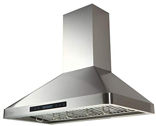EKON Wall Mounted Kitchen Range Hood/Touch Panel Control With Remote And LCD Display / 2 Pcs 3W Led Lamp /900 CFM (NAP02-R-30