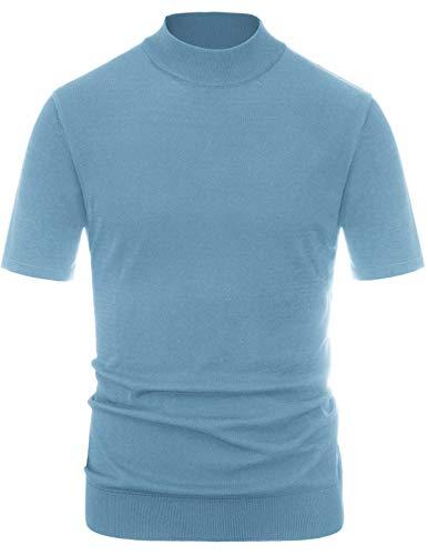 (PAUL JONES Men's Solid Soft Knitting Pullover Short Sleeve Lightweight Mockneck Sweater Blue, Size S )