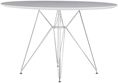 Oui Home - Mesa Comedor Redonda Tower Metal/Blanca 110: Amazon.es ...