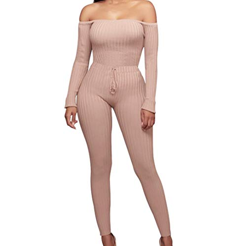 iYYVV Women Fashion Fancy Off Shoulder Long Sleeve Sexy Bodycon Hip Rompers Jumpsuit Pink (Satin Lemon Striped)