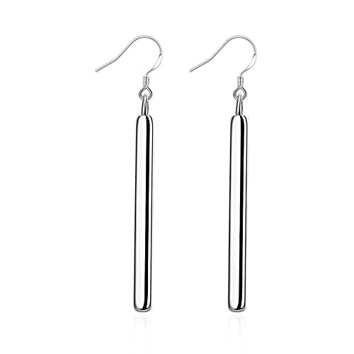 20s Costumes London - PMANY Thin Lever Drop Back Dangle Earrings,Push Back Closure,925 Sterling Silver Plated,for Women Girls(White/1 Pair)