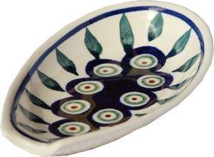 Polish Pottery Spoon Rest From Zaklady Ceramiczne Boleslawiec #1015-56 Peacock Traditional Pattern (Rest Spoon Polish Pottery Stoneware)