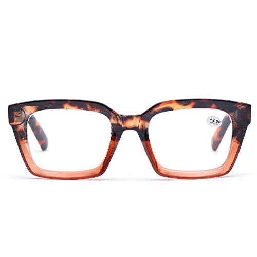 Retro Oprah Style Square Reading Glass Big Eyeglass Frames Large lens 50mm (Leopard, 2.5) ()