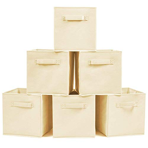 Set Comforter Cube (Storage Box with Handles(set of 6), cabinet Bins Basket Organizer, Under Bed Storage Bag for Comforters, Blankets; Organizer Cube Basket Bin for Laundry, Toys, Clothes, DVDs, Books or More - Foldable)