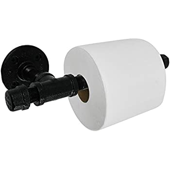 LDR 172 5711BK Industrial Pipe Décor Toilet Paper Holder Set (Mounting Hardware Included) Electroplated Black Finish