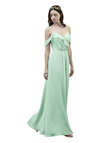 Alicepub Off Shoulder Bridesmaid Dress Spaghetti Straps Evening Party Prom Gown, Mint Green, US6