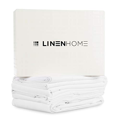 Cotton Linen Sheet - 800 Thread Count Egyptian Cotton King Sheets, Bright White: 4 Piece, Breathable Deep Pocket Bedroom Sheets Set with Satin Weave Fitted and Flat Sheet and Two Pillowcases
