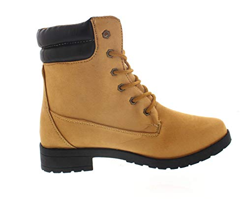 Boot 6 Eye Collar Padded (Via Rosa Lace Up Combat Boots for Women,Work Boot,Womens Short Ankle Bootie Low Heel Shoe Sand Size 6 US)