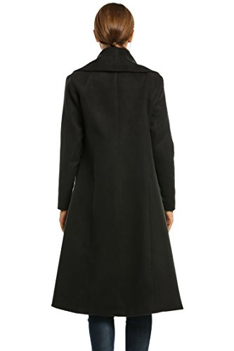HOTOUCH Women's Notched Lapel Button Closure Worsted Long Trench Coat Black XL