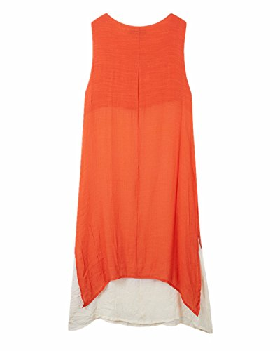 ZANZEA Mujer Vestido Largo Holgado Elegante Escote Redondo naranja sin mangas