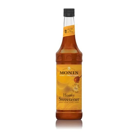 Monin - Honey Sweetener, Rich and Smooth, Great for Teas and Cocktails, Gluten-Free, Non-GMO (1 Liter) 1 GREAT FOR TEAS AND COCKTAILS: Our Honey Organic Sweetener boasts all of the rich clover notes you crave with a unique formula that allows it to dissolve quickly making for mouthwatering teas, lemonades, specialty cocktails, coffee drinks and more. TASTING NOTES: Featuring true clover honey aroma and taste. The distinct flavor profile of real, pure honey is undeniably rich and smooth. SPECIFICATIONS: Allergen Free, Dairy Free, Gluten Free, Kosher, Low Calorie, Made with Organic Honey, No Artificial Colors, No Artificial Flavors, No Artificial Ingredients, No Artificial Preservatives, No Artificial Sweeteners, Non-GMO, & Organic