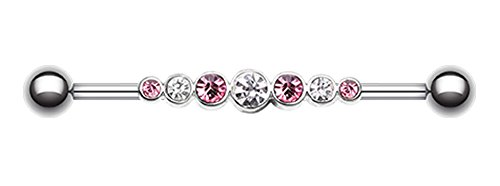 Dazzling Glass-Gem Row Industrial Barbell - 14 GA (1.6mm) - Ball Size: 3/16