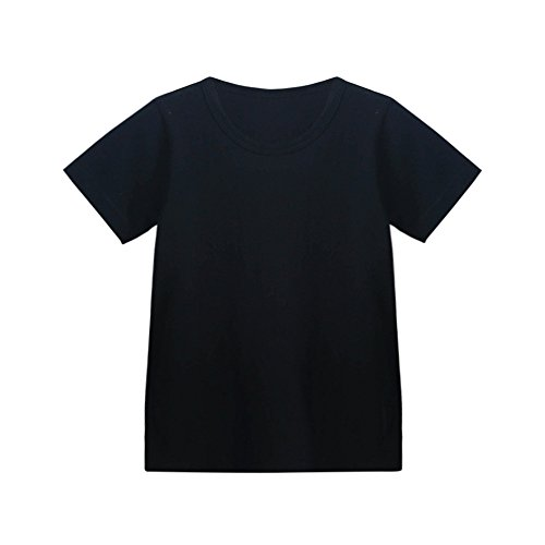 Kids Cheap T Shirts,Boys Solid Candy Color Tee Tops Little Girls T Shirts Pajama Shirts.(Black,120) by Wesracia (Image #2)