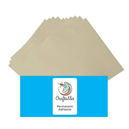 (Craftables Beige Vinyl Sheets - Permanent, Adhesive, Glossy & Waterproof | (10) 12