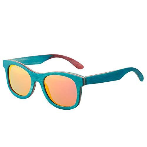 New fashion Retro Wood Women sunglasses men high grade Peacock blue Polarized sunglasses Beach Bamboo ()