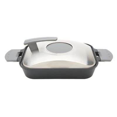 """15"""" Non-Stick Steam Grill Pan with Stainless Steel Cover"""