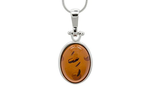 925 Sterling Silver Oval Pendant Necklace with Genuine Natural Baltic Cognac Amber. Chain included
