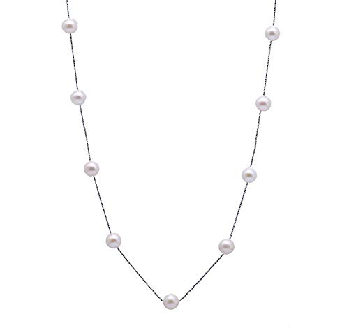 JYX Sterling Silver Tin Cup Staion Neckalce AA+ 8mm White Freshwater Cultured Pearl Necklace 18 Inches