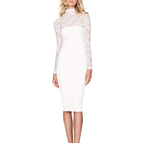 (Pengy Woman Fit Tight Dress Casual Pure Color Dress Ladies Long Sleeves Lace Tight Dress Dress White)
