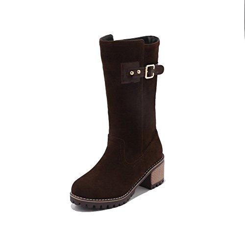 BalaMasa Womens Fashion Slip-Resistant Buckle Suede Boots ABL10421 Brown FaXL89yxEA