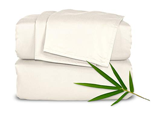 Pure Bamboo Sheets Queen 4pc Bed Sheet Set - 100% Bamboo Luxuriously Soft Bed Sheets (Queen, Ivory)