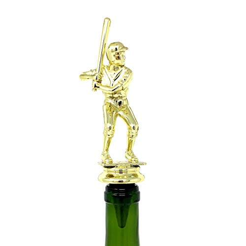 Baseball Wine Bottle Stopper - Handmade with Stainless Steel Base and Repurposed Trophy Top